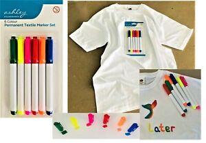 6 x Fabric Marker Pens Set. Permanent on Clothing Textiles Dye T-Shirt Shoes etc