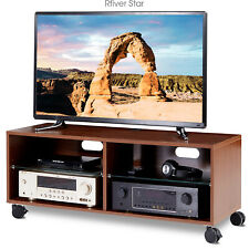 Rolling Wood Entertainment Center Corner TV Stand with Wheels for up to 65 inch