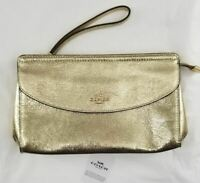 COACH Leather Flap Wristlet Top Zip Clutch Bag, Metallic Light Gold