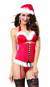 Sexy Red Naughty List Santa Holiday Lingerie Set: Bra, Corset, Hat and Thong