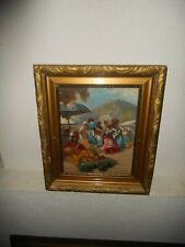 Old oil painting, ( East european market in the mountains, is signed ).