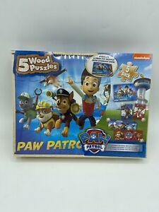 Paw Patrol 5 Wood Puzzles Storage Box Tray Kid Educational Learn Jigsaw Puzzle