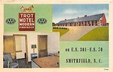 B16/ Smithfield North Carolina NC Postcard Linen Trot Motel Roadside Interior