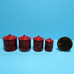 Dollhouse Miniature Metal Canister Set in Red with Lids IM65331