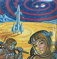 Vintage Space Scene Astronauts and Rocket Tin Candy Container - Made in England