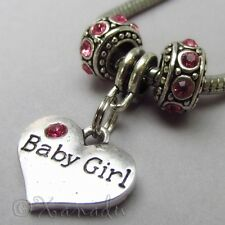 Baby Girl Pink European Charm Beads For Large Hole Bracelets - Baby Shower Gift