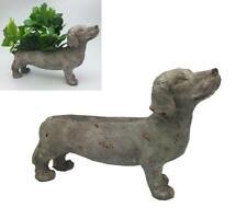 Dachshund Dog Garden Planter Indoor Outdoor Stone Look Finish Resin Plant Wiener