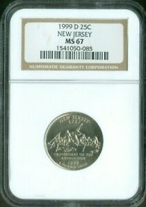1999 D New Jersey State Quarter NGC MS67 Quality✔️