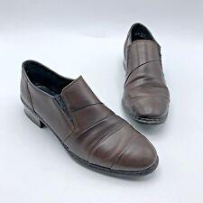 Rieker Antistress Women Brown Leather Slip On Elastic Heel Shoe SZ 6.5 Pre Owned