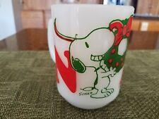 Vintage Fire-King Snoopy Noel Milk Glass Wreath Coffee Mug Woodstock 1965