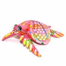 "Handmade Oaxacan Copal Wood Carving Painted Pink Sea Turtle Marine 4.5"" Figurine"