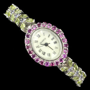 Unheated Marquise Peridot Rhodolite Tanzanite Dial Mop 925 Sterling Silver Watch
