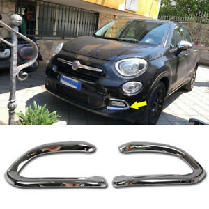 Chrome Front fog lamp light Cover Trim Fit for 2017 2018 Fiat 500X POP/LOUNGE