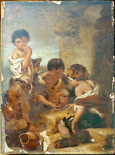 ANTIQUE COPY PAINTING ON WOOD OF BOYS PLAYING WITH DICE
