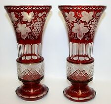 SUPERB PAIR OF ANTIQUE BOHEMIAN ART GLASS RUBY FLASHED & ENGRAVED MANTLE VASES