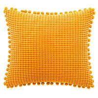 2X Pom Pom Corduroy Cushion Covers Soft Throw Pillow Case Sofa Home NO CORE Cosy