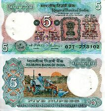 "INDIA 5 Rupees Banknote World Money Currency Asia Note XF+ BILL p80r Tractor ""B"""