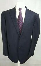 M&S Collection Mens Suit, Navy Striped, Pure Wool, Chest 46L, Trousers 42, GC