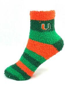 Miami Hurricanes Orange & Green Rainbow Stripe Fuzzy Socks