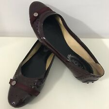 TOD'S Size UK 8 EU 41 Women's Burgundy Brogue Flat Slip On Shoes Made In Italy
