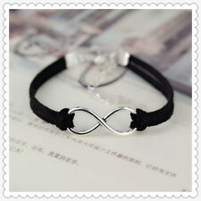 New Fashion Hand-woven Infinity Silver Pendant Velvet Charm Bracelets Jewelry CN
