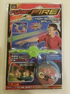 2011 PLAY VISIONS CYBER FIRE GLOW HIGH BOUNCE BALL & LED LIGHT SET NEW FREE S/H