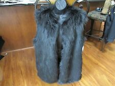 NEW LAUREN Ralph Lauren Faux Fur Vest WOMENS XL X-Large Black $250