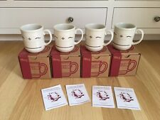 4 New In Boxes Longaberger Pottery Woven Traditions Heritage Red Mugs Usa