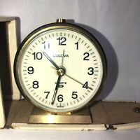 VINTAGE BULOVA QUARTZ CHIME & ALARM TRAVEL CLOCK WITH  CASE MADE IN GERMANY