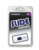 Integral 32GB Slide USB Flash Drive in White - Convenient Sliding USB Connector.