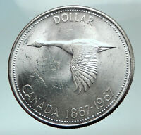 1967 CANADA CANADIAN Confederation Founding with GOOSE Silver Dollar Coin i82129