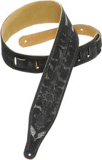 Levy's MS17T05 Pentagram Bats Gothic Tooled Suede Guitar/Bass Strap - Black