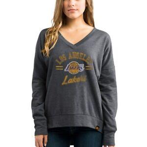 Women's LA Lakers Sweatshirt Majestic Grey V Neck Seductive Pop SMALL NWT