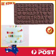 Silicone Happy Birthday Chocolate Moulds Cake DIY Baking Heart Number Letters