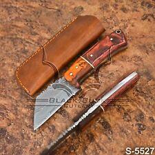 5527 | Black Buck's Handmade Damascus Steel Skinner/ Seax Knife |W/Sheath