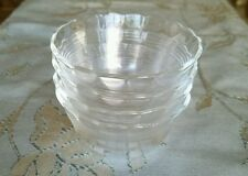 Set of 4 VINTAGE CLEAR PYREX CUSTARD CUPS Scalloped Edge 3 Rings #463