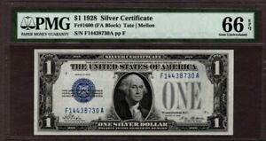 1928 $1 Silver Certificate, Fr1600, FA Block, PMG 66 EPQ, NICE!!