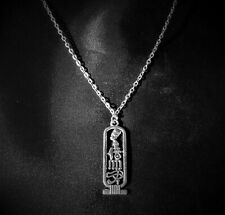 "Egyptian Cartouche Silver Plated Nefertiti Horus Ma'at Aset Pendant on 20"" chain"