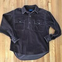 Vintage J Crew Mens Wide Wale Brown Corduroy Shirt Three Button Pullover Sz S