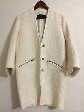 Zara Basic Coat Ivory Zip Pockets Size S