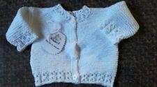 Jersey-chaqueta bebé punto. Hecho a mano. Algodón blanco. Talla 0-3 meses
