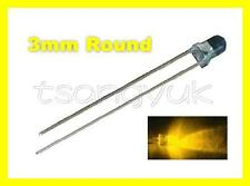 50 Yellow 3mm Round LED Free Resistors