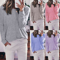 Women Long Sleeve Loose Trim Blouse Solid Color Round Neck Soft Tunic T-Shirt US