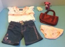 Build a Bear Girl Limited Too Top/Jeans/Undies/Bag/Rose Clip & Mini Kitty - EUC