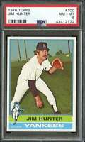 1976 TOPPS #100 JIM HUNTER PSA 8 YANKEES HOF  *K4457