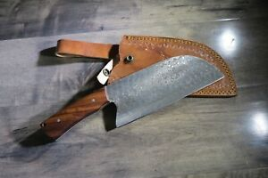 Heavy Duty Damascus Steel Hunting Chopper  Knife With  Wood Handle