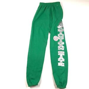 NWT Vintage 90s Michigan State University Youth S Green Spell Out Sweatpants