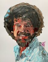 Original Abstract Bob Ross Palette Knife Portrait Pop Wall Art Painting 14""