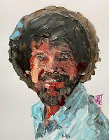"Original Abstract Bob Ross Palette Knife Portrait Pop Wall Art Painting 14"""