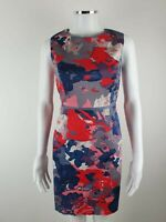 Boden Red Grey Smart Party Evening Sleeveless Occasion Dress Size 12 P/ Petite